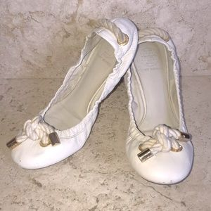 Tory Burch Off White Nautical Rope Ballet Flats